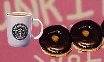스타벅스 커피와 도너스